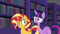Size: 1920x1080 | Tagged: alicorn, book, bookshelf, equestria girls, equestria girls series, female, forgotten friendship, gasp, jaw drop, library, mare, pony, raised eyebrow, safe, screencap, sunset shimmer, twilight sparkle, twilight sparkle (alicorn), unicorn