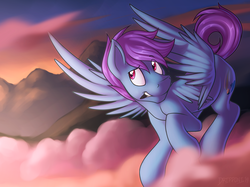 Size: 4997x3741 | Tagged: absurd res, artist:dripponi, artist:lattynskit, cloud, flying, male, oc, oc:windy dripper, pegasus, pink cloud, pony, safe, solo, sunset, tablet pen, teeth