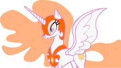 Size: 1902x1073 | Tagged: dead source, safe, artist:a01421, edit, princess celestia, pony, ethereal mane, evil celestia, female, mare, nightmare pony, nightmarified, recolor, simple background, solo, transparent background, vector