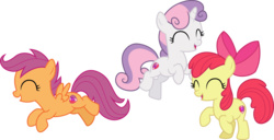 Size: 5878x3000 | Tagged: .ai available, apple bloom, artist:cloudyglow, artist:parclytaxel, bow, cute, cutealoo, cutie mark, cutie mark crusaders, diasweetes, earth pony, eyes closed, female, filly, hair bow, open mouth, pegasus, pony, safe, scootaloo, simple background, sweetie belle, the break up breakdown, transparent background, unicorn, vector