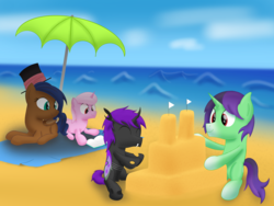 Size: 2828x2121 | Tagged: artist:bladedragoon7575, beach, beach blanket, book, colt, crystal pony, crystal unicorn, family, female, fraternal twins, group, happy, hat, lying down, male, mare, oc, oc:crescent star, ocean, oc:kavidun, oc:lunar orbit, oc only, oc:tinker hooves, playing, pony, reading, safe, sand castle, sitting, smiling, stallion, top hat, twins, umbrella