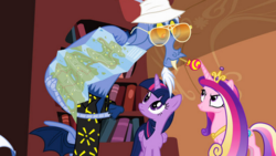 Size: 610x345 | Tagged: alicorn, angry, book, bookcase, crown, discord, draconequus, female, golden oaks library, hat, jewelry, map, mare, princess cadance, regalia, safe, screencap, sunglasses, three's a crowd, twilight sparkle, twilight sparkle (alicorn)