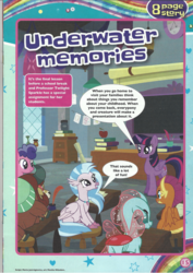 Size: 1654x2339 | Tagged: safe, ocellus, silverstream, smolder, twilight sparkle, yona, alicorn, comic, grammar error, magazine scan, twilight sparkle (alicorn), underwater memories