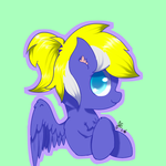Size: 512x512 | Tagged: safe, artist:jerryenderby, artist:睿毛, oc, oc only, oc:enderby, pegasus, pony, bust, green background, simple background, solo