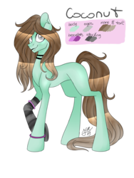 Size: 1200x1600 | Tagged: artist:zima, bracelet, choker, clothes, earth pony, female, jewelry, mare, oc, oc:coconut, oc only, paint tool sai, palette, pony, reference, safe, simple background, socks, solo, stockings, striped socks, thigh highs, transparent background