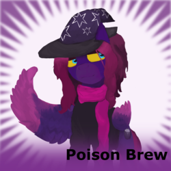 Size: 1024x1024 | Tagged: safe, artist:sapphmod, derpibooru exclusive, oc, oc only, oc:poison brew, pegasus, pony, derpibooru, art trade, clothes, colored hooves, female, hat, mare, meta, official spoiler image, scarf, simple background, solo, spoilered image joke, wings, witch hat, yellow eyes