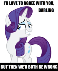 Size: 1219x1504 | Tagged: safe, artist:delzepp, rarity, pony, unicorn, caption, darling, female, image macro, lidded eyes, mare, meme, ouch, reaction image, sick burn, simple background, smiling, smirk, solo, text, told, white background