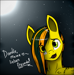 Size: 395x399   Tagged: safe, artist:dave_sherk, oc, oc only, oc:lucky silverhoof, pegasus, pony, birthday, bust, cute, exclamation point, german, green eyes, heart, looking at you, male, moon, night, open mouth, portrait, smiling, solo, stallion, stars, two colour hair