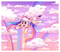 Size: 800x685 | Tagged: artist:ipun, chibi, cloud, earth pony, female, heart eyes, mare, oc, oc only, oc:rainbow skies, pony, rainbow, rainbow hair, safe, solo, wingding eyes