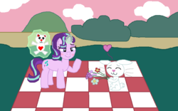Size: 800x500 | Tagged: angel bunny, artist:drypony198, blushing, female, flower, glowing horn, heart, interspecies, magic, male, picnic blanket, pony, rabbit, safe, shipping, starbunny, starlight glimmer, straight, teddy bear, telekinesis, unicorn
