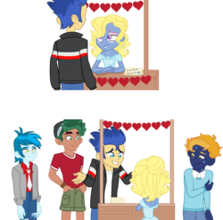 Size: 3472x3430 | Tagged: artist:lavander doodles, camp everfree outfits, crossdressing, equestria girls, femboy, flash sentry, gay, hearts and hooves day, holiday, kissing, kissing booth, male, oc, oc:azure/sapphire, oc:night archive, safe, thunderbass, timber spruce, valentine's day