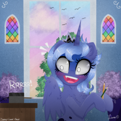 Size: 3024x3024 | Tagged: alicorn, artist:darkest-lunar-flower, blushing, cheek fluff, chest fluff, cute, ear fluff, female, lavender, lunabetes, on the moon for too long, pencil, pencil sharpener, pony, princess luna, s1 luna, safe, scared, slightly creepy, solo, stained glass, surprised
