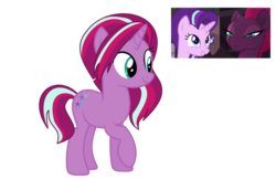 Size: 1024x703   Tagged: safe, starlight glimmer, tempest shadow, oc, oc:glitter blitz, pony, female, lesbian, magical lesbian spawn, offspring, parent:starlight glimmer, parent:tempest shadow, parents:tempestglimmer, shipping, tempestglimmer