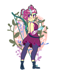 Size: 900x1100 | Tagged: artist:mewy101, bare shoulders, bow (weapon), clothes, cute, dress, equestria girls, female, friendship games, human, leggings, looking back, safe, solo, sourbetes, sour sweet