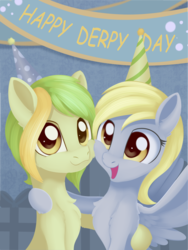 Size: 1690x2246 | Tagged: artist:dusthiel, derpy day, derpy day 2019, derpy hooves, duo, female, mare, oc, oc:dust wind, pegasus, pony, safe