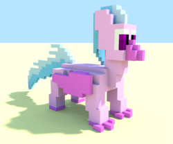 Size: 960x800 | Tagged: 3d, artist:derek the metagamer, hippogriff, magicavoxel, safe, silverstream, solo, voxel art