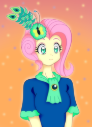 Size: 1000x1378 | Tagged: anime, artist:grandzebulon, clothes, dress, equestria girls, equestria girls interpretation, female, fluttershy, gala dress, :i, make new friends but keep discord, safe, scene interpretation, shirt, solo, we bought two cakes