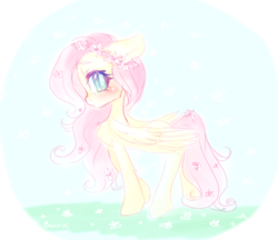 Size: 1280x1107 | Tagged: safe, artist:bunnini, fluttershy, pegasus, pony, blushing, chest fluff, cute, female, floral head wreath, flower, flower in hair, flower in tail, leg fluff, mare, profile, shyabetes, solo