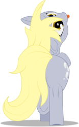 Size: 2000x3229 | Tagged: artist:t72b, cute, derpabetes, derpibooru exclusive, derpy doing derpy things, derpy hooves, female, looking at you, looking back, mare, nose in the air, :p, pegasus, pony, rear view, safe, silly, silly pony, simple background, solo, tongue out, transparent background, underhoof, walking