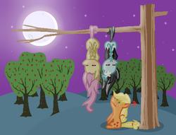 Size: 512x391   Tagged: safe, artist:darbypop1, applejack, fluttershy, oc, oc:lily bats, bat pony, pony, apple tree, bat ponified, behaving like a bat, chibi, flutterbat, hanging, hanging upside down, moon, night, race swap, tree, tree branch