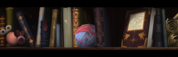 Size: 3369x1082 | Tagged: safe, composite screencap, edit, edited screencap, screencap, my little pony: the movie, book, bookshelf, capper's room, cat toy, map, panorama, parchment, yarn, yarn ball