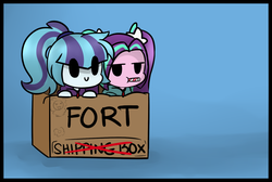 Size: 1280x861   Tagged: safe, artist:jankrys00, adagio dazzle, aria blaze, sonata dusk, equestria girls, :p, :t, ariabetes, blue background, box, box fort, c:, candy, candy cane, cardboard box, chibi, clothes, cute, flower, food, fort, gradient background, hoodie, leaning, lidded eyes, looking at you, pigtails, ponytail, puffy cheeks, silly, simple background, smiling, sonatabetes, sweets, tongue out, unamused