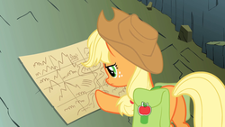 Size: 1920x1080   Tagged: safe, screencap, applejack, pony, dragonshy, applejack's hat, butt, cowboy hat, dragon mountain, female, freckles, hat, looking down, map, mare, mountain, plot, saddle bag, serious, serious face, solo, stetson