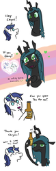 Size: 556x1700 | Tagged: safe, artist:jargon scott, autumn blaze, queen chrysalis, shining armor, changeling, changeling queen, kirin, unicorn, :>, :t, blushing, bottle, bottle opener, comic, crush, eye contact, eyes closed, fangs, female, frown, glare, happy, heart, hoof hold, horn, kirin beer, kirin ichiban, lidded eyes, looking at each other, mundane utility, open mouth, queen chrysalis is not amused, shining adorable, simple background, size difference, slit pupils, text, unamused