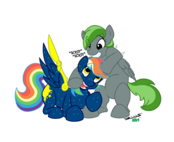 Size: 1500x1226 | Tagged: safe, artist:prettykitty, artist:zillford, oc, oc only, oc:forest rain, oc:starborne, pegasus, pony, duo, female, noogie, simple background, smiling, transparent background