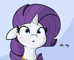 Size: 771x632   Tagged: safe, artist:tjpones edits, edit, edited edit, rarity, pony, unicorn, blushing, bust, cropped, edit of an edit of an edit, female, frown, horn, jewelry, mare, nervous grin, offscreen character, open mouth, out of context, reaction image, shocked, solo, wide eyes