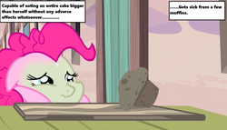Size: 1258x720   Tagged: safe, edit, edited screencap, screencap, pinkie pie, season 5, the cutie map, cottage, door, food, green, muffin, sick, solo, starlight's village, table, text, text box