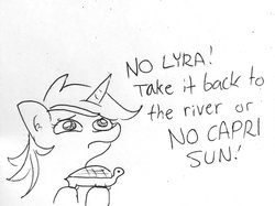 Size: 1440x1077   Tagged: safe, artist:tjpones, lyra heartstrings, pony, turtle, unicorn, begging, black and white, cute, dialogue, ear fluff, female, frown, grayscale, hoof hold, lineart, looking up, lyrabetes, mare, monochrome, offscreen character, puppy dog eyes, sad, sadorable, simple background, solo focus, text, traditional art, white background