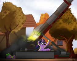 Size: 3574x2851 | Tagged: alicorn, artist:oinktweetstudios, dragon, female, glasses, male, mare, open mouth, pony, rocket, rocket launcher, safe, signature, sky, spike, tree, twilight sparkle, twilight sparkle (alicorn)