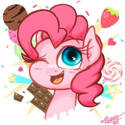 Size: 1280x1280 | Tagged: safe, artist:phoenixrk49, pinkie pie, pony, blushing, bust, candy, chocolate, cute, diapinkes, female, food, heart, ice cream, lollipop, mare, one eye closed, open mouth, portrait, signature, solo, sprinkles, stars, strawberry, wink