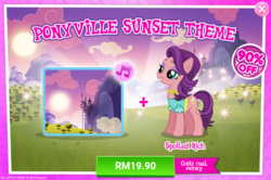 Size: 1036x688 | Tagged: advertisement, canterlot, clothes, costs real money, earth pony, female, gameloft, mare, official, pony, safe, sale, solo, spoiled rich, sunset