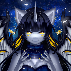 Size: 1500x1500 | Tagged: alicorn, alicorn oc, anthro, anthro oc, artist:gyuumu, female, looking at you, mare, nail polish, night, oc, oc only, oc:starlit night, safe, smiling, solo, stars, wings