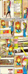 Size: 1175x3097 | Tagged: safe, artist:meiyeezhu, rainbow dash, sunset shimmer, human, equestria girls, anime, clothes, coin, comic, converse, door, eyeshadow, food, hair bun, humanized, jacket, kimono (clothing), machine, makeup, menu, old master q, parody, plate, reference, restaurant, shoes, sign, smiling, sunset sushi, surprised, sushi, traditional art, vending machine