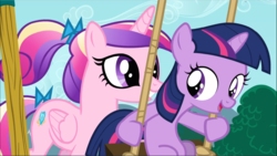 Size: 1669x940 | Tagged: a canterlot wedding, cropped, cute, duo, female, filly, filly twilight sparkle, open mouth, princess cadance, safe, screencap, smiling, swing, twilight sparkle, unicorn, unicorn twilight, younger
