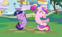 Size: 1396x841 | Tagged: a canterlot wedding, cropped, cute, duo, eyes closed, female, filly, filly twilight sparkle, midair, pony, princess cadance, safe, screencap, smiling, sunshine sunshine, twiabetes, twilight sparkle, unicorn, unicorn twilight, younger