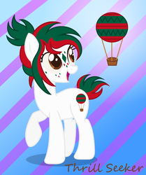 Size: 1456x1744 | Tagged: safe, artist:meimisuki, artist:razorbladetheunicron, edit, oc, oc only, oc:thrill seeker, earth pony, pony, base used, cutie mark, female, hot air balloon, mare, markings, ponysona, solo, striped background
