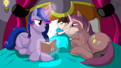 Size: 9307x5235 | Tagged: safe, artist:cactuscowboydan, oc, oc:king speedy hooves, oc:queen galaxia, oc:tommy the human, alicorn, human, pony, alicorn oc, bedroom, bedsheets, bedtime story, blanket, book, candle, commissioner:bigonionbean, curtains, cutie mark, family, father and son, female, fusion, fusion:king speedy hooves, fusion:queen galaxia, herd, hug, human oc, husband and wife, love, magic, male, mother and father, mother and son, muzzle, pillow, pony sized pony, royal family, tired, unshorn fetlocks