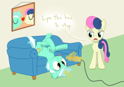 Size: 2000x1400 | Tagged: artist:mightyshockwave, bon bon, bon bon is not amused, couch, joystick, lyra heartstrings, pony, safe, silly, silly pony, sweetie drops, tongue out, unamused, upside down, video game, video game controller