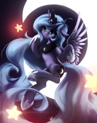 Size: 2474x3154 | Tagged: alicorn, artist:fluttersheeeee, crescent moon, crown, cute, female, high res, hoof shoes, jewelry, lunabetes, mare, moon, night, pony, princess luna, regalia, s1 luna, safe, smiling, solo, stars