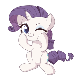 Size: 1600x1600 | Tagged: artist:tcn1205, chibi, cute, female, one eye closed, pony, raribetes, rarity, safe, simple background, solo, :t, white background, wink