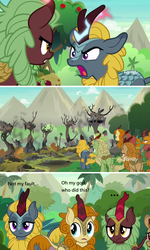 Size: 1256x2100 | Tagged: ..., autumn afternoon, background kirin, bad end, cinder glow, comic, discovery family logo, edit, edited screencap, female, fern flare, forest fall, kirin, male, maple brown, pumpkin smoke, safe, screencap, screencap comic, sounds of silence, summer flare, text, winter flame