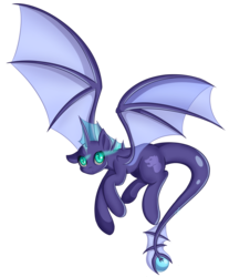 Size: 3887x4692 | Tagged: artist:cha-squared, bat wings, hybrid, long tail, looking at you, oc, oc:aleya, pony, safe, simple background, solo, transparent background, wings