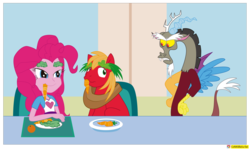 Size: 2785x1661 | Tagged: annoyed, artist:conikiblasu-fan, big macintosh, brotherhooves social, carrot, chair, discord, discord is not amused, draconequus, earth pony, equestria girls, eyebrows, eye contact, female, food, frown, glare, gritted teeth, high res, imitation, lettuce, lidded eyes, looking at each other, male, orange, pinkie pie, pony, rainbow rocks, safe, sideways glance, sitting, smiling, smirk, snaggletooth, stallion, table, unamused, watermark, wide eyes, window