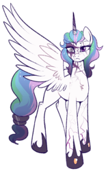 Size: 520x840 | Tagged: alternate hairstyle, alternate universe, artist:lulubell, princess celestia, safe, scar, simple background, solo, transparent background