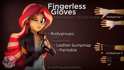 Size: 1191x670 | Tagged: safe, artist:imafutureguitarhero, artist:sindroom, part of a set, sunset shimmer, human, equestria girls, 3d, clothes, download, download at source, downloadable, female, fingerless gloves, gloves, hand, jacket, leather gloves, leather jacket, multicolored hair, one eye closed, part of a series, smiling, solo, source filmmaker, text, thumbs up, wink