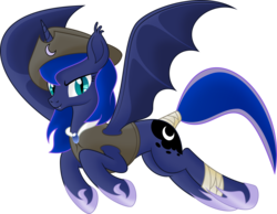 Size: 6281x4871 | Tagged: absurd res, alicorn, artist:kopcap94, bat alicorn, bat ponified, bat pony, bat pony alicorn, captain luna, clothes, fangs, female, hat, lunabat, pirate, pirate hat, princess luna, race swap, safe, simple background, smiling, solo, .svg available, tail wrap, transparent background, vector
